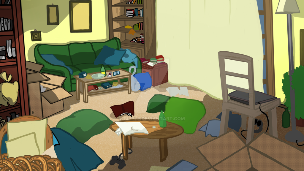 Visual novel messy Living room by Cipple