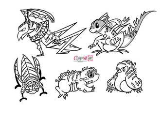 Fakemon lineartin Ken Sugimori style by Cipple