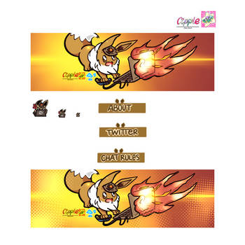 Twitch Panels banner and emote commission by Cipple