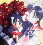 Kawaii Sailor Mars red pearl bead necklace