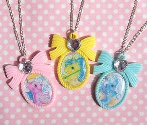 SOLD Cute G1 My Little Pony cameo bow necklaces