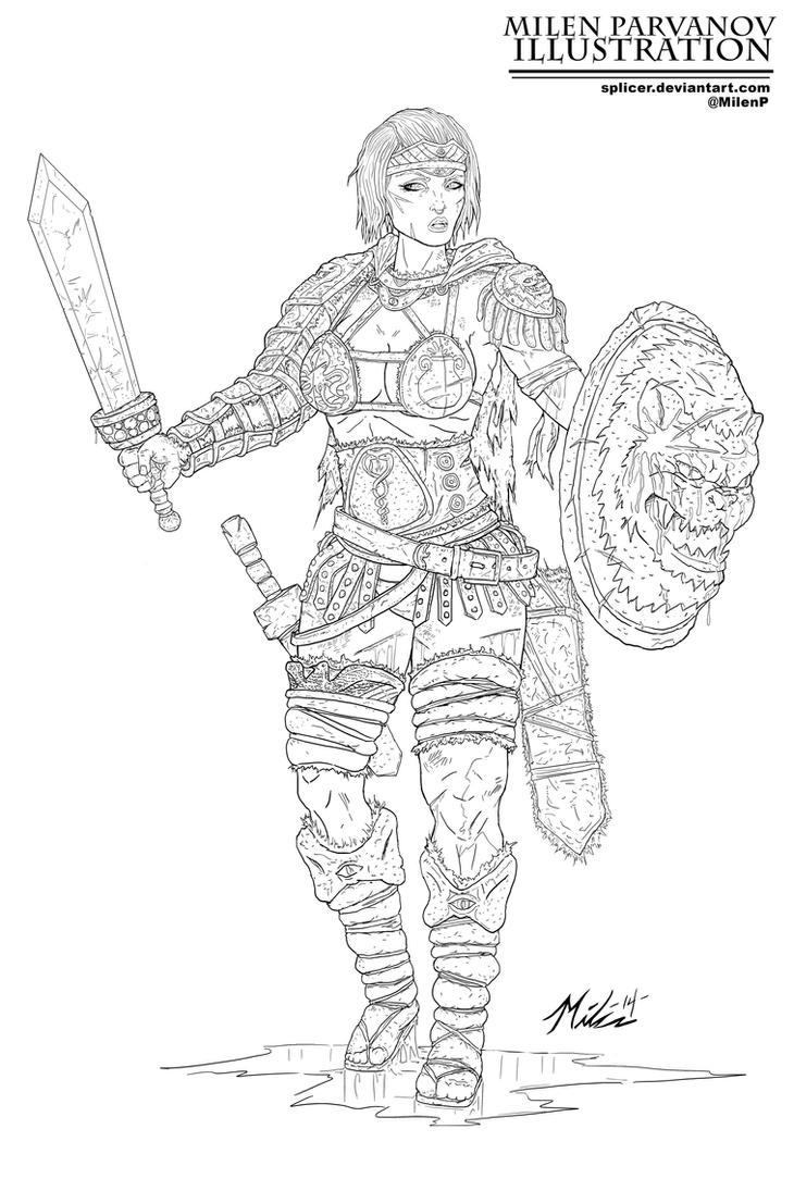 Fem Gladiator Concept Lineart by splicer