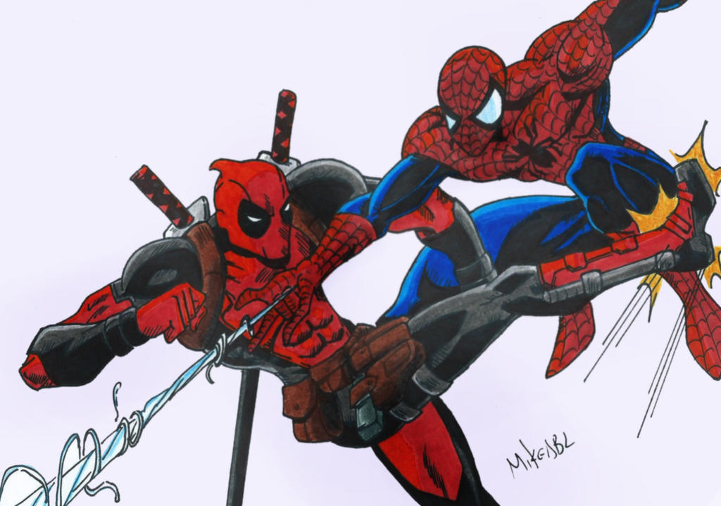 Spiderman Vs Deadpool By MikeES
