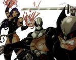 Wolverine, Psylocke y Deadpool