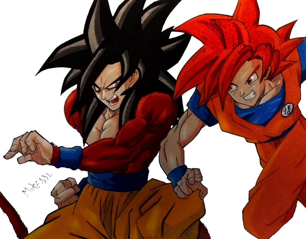 Goku SSJ4 Vs Goku God by MikeES on DeviantArt