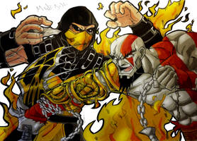 Scorpion Vs Kratos by MikeES