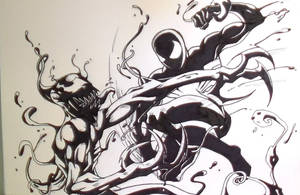 Black Suit Spiderman Vs Carnage Ink by MikeES