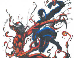 Black Suit Spiderman Vs Carnage Scan by MikeES