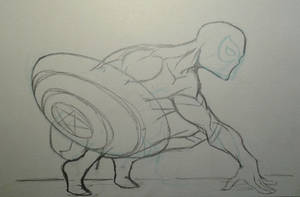 Spiderman with the Cap s Shield Sketch by MikeES