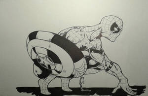 Spiderman with the Cap s Shield Inks by MikeES