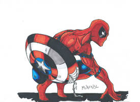Spiderman with the Cap s Shield Scan by MikeES