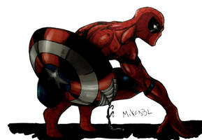 Spiderman with the Cap s Shield Colors(Final) by MikeES