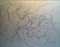 Hulk Vs Abomination Sketch by MikeES