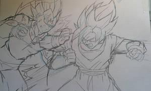 Goku Vs Majin Vegeta Sketch by MikeES
