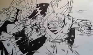 Goku Vs Majin Vegeta Inks by MikeES