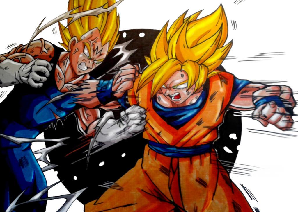 Goku Vs Majin Vegeta Colors (Final) by MikeES on DeviantArt