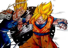 Goku Vs Majin Vegeta Colors (Final) by MikeES