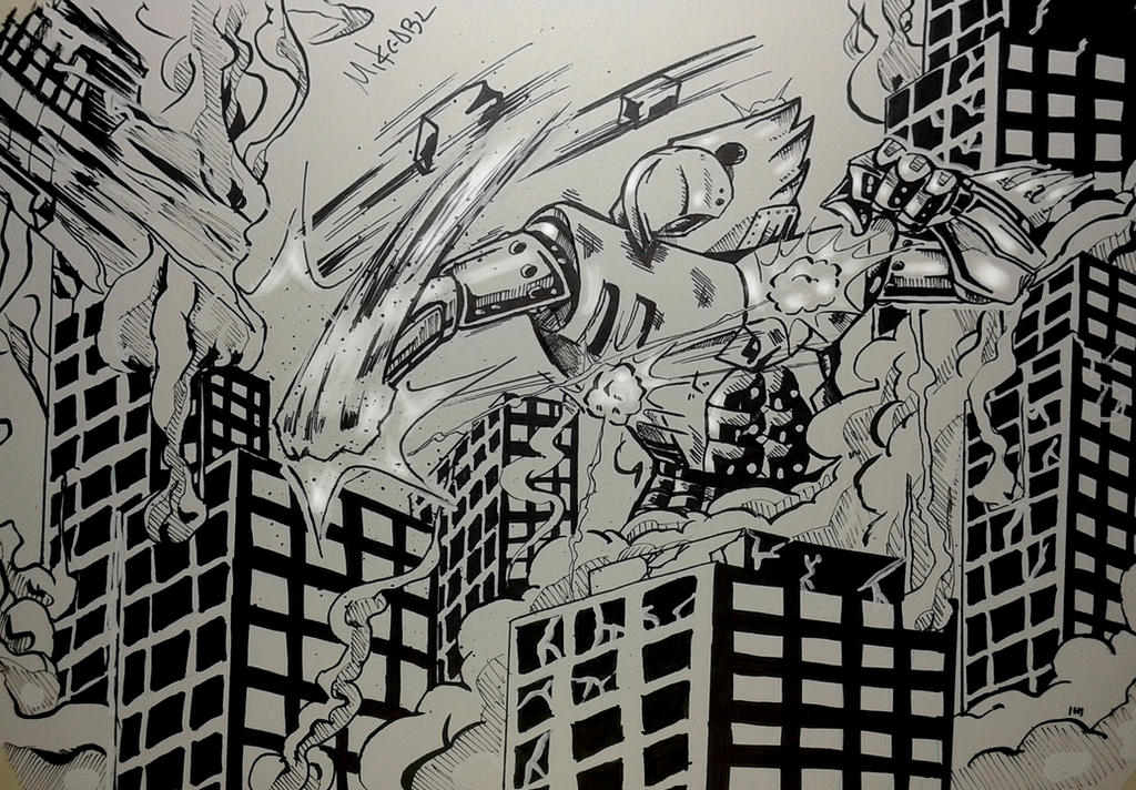 Inktober 2017 No.10 Gigantic by MikeES