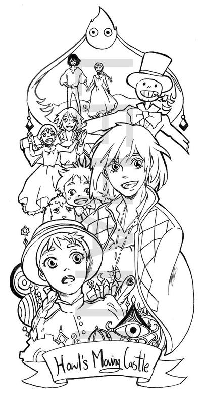 howl s moving castle coloring pages - howl 39 s moving castle bookmark by lehanilee on deviantart