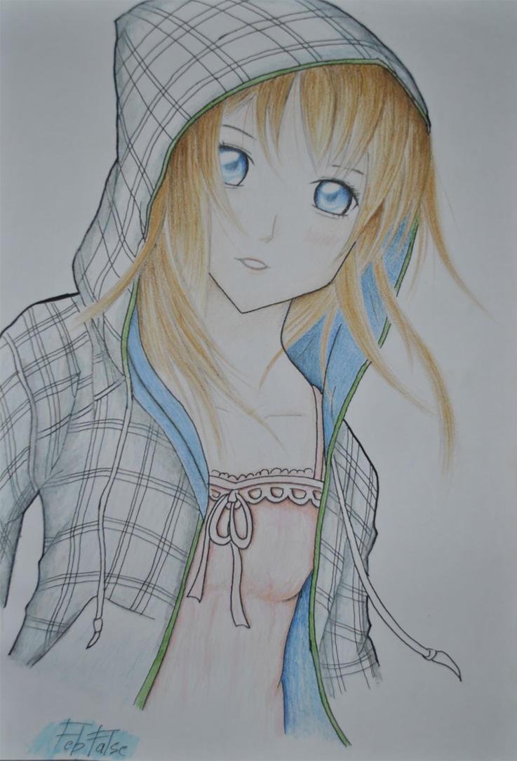 Anime Girl With Hoodie By Febfalse On DeviantArt
