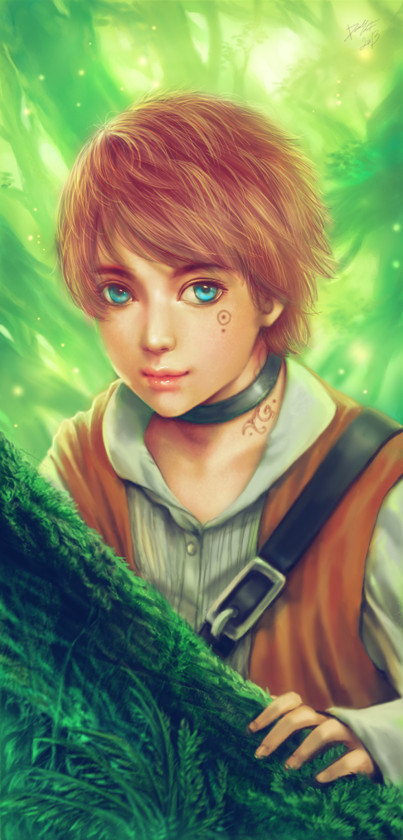 Boy in the forest by davidmccartney