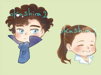Chibi Sherlock and Molly headshots by oKaShira2
