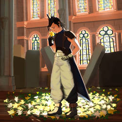 Zack Fair inside Aerith church