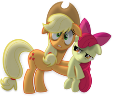 Applejack and Apple Bloom by Psyxofthoros