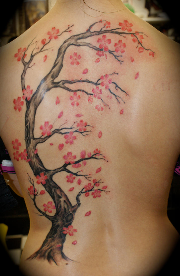 Women Back Piece Japanese Cherry Blossom Tattoo Picture 5