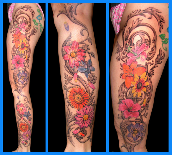 flower leg tattoo - flower tattoo