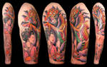 upper arm sleeve tattoo