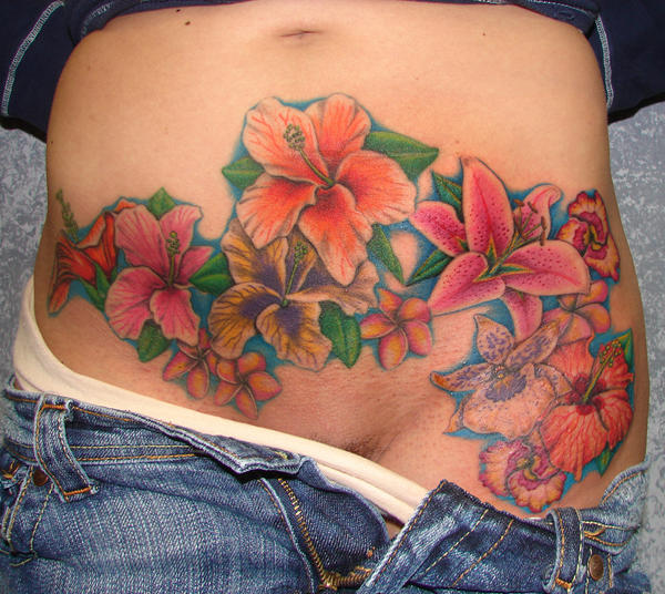 Flowers on stomach by asussman on deviantart for Belly tattoos for female