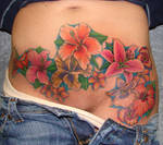 flowers on stomach