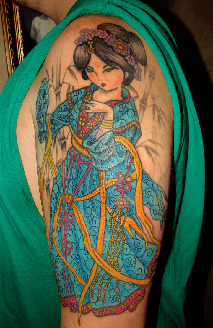 Shoulder Japanese Geisha Tattoo Picture 4