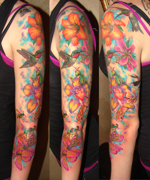 Flower and Insect sleeve WIP by asussman