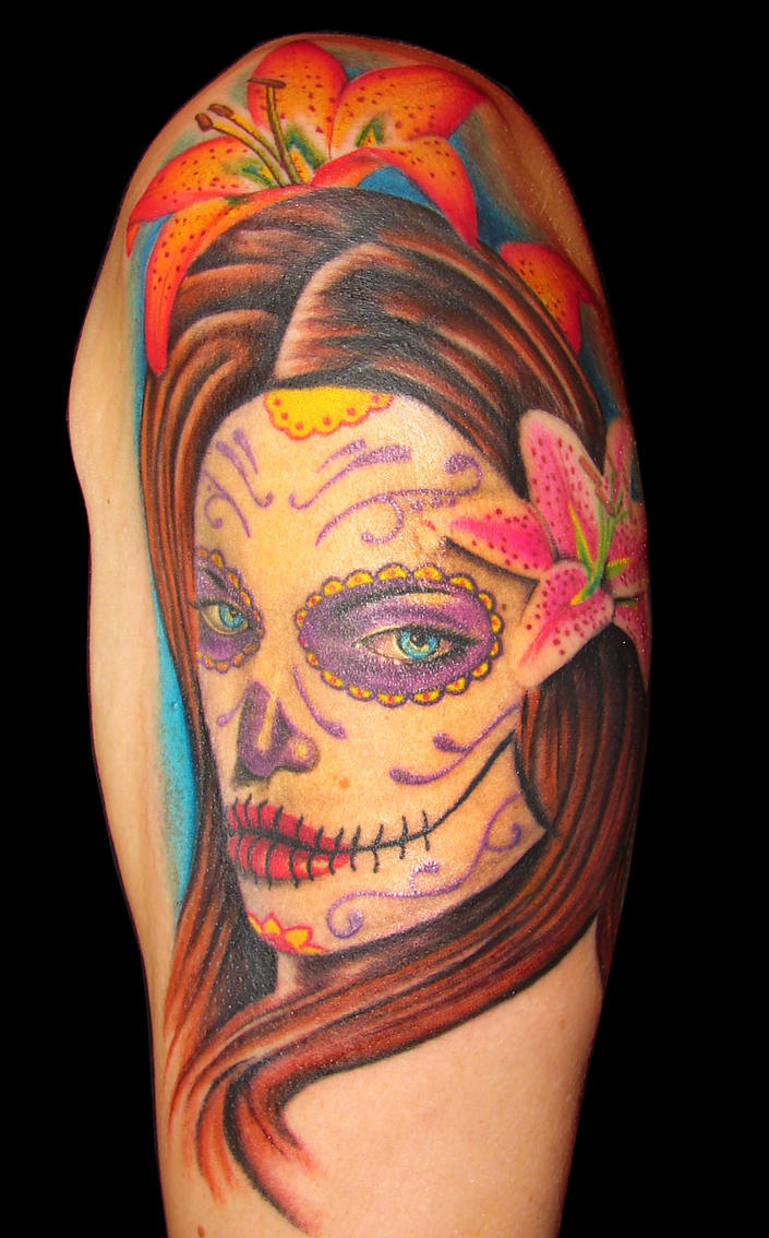 color day of the dead girl by