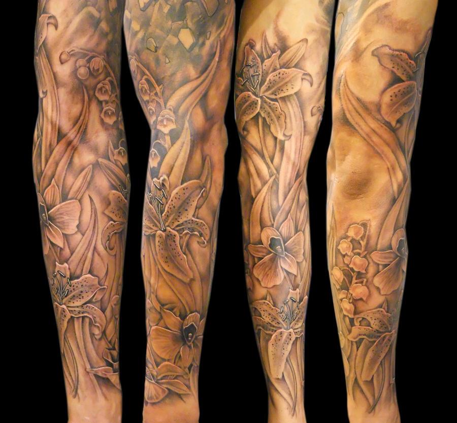Flower sleeve by asussman on deviantart for Flower sleeve tattoo ideas