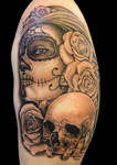 Day of the dead girl and skull