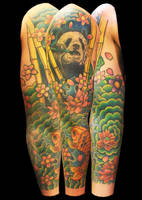 panda and japanese sleeve by asussman