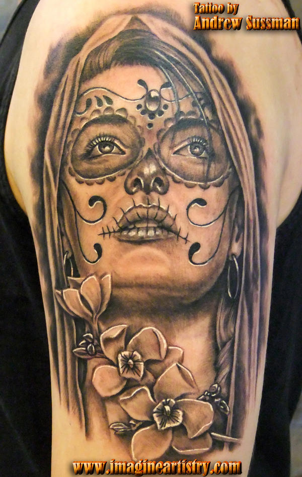 Day of the Dead Tattoos Black and White