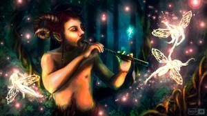 Fuzzy Faun Fluting to Fairies by Dorcyy