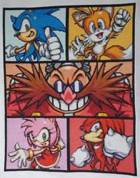 Sonic Characters Cross Stitch