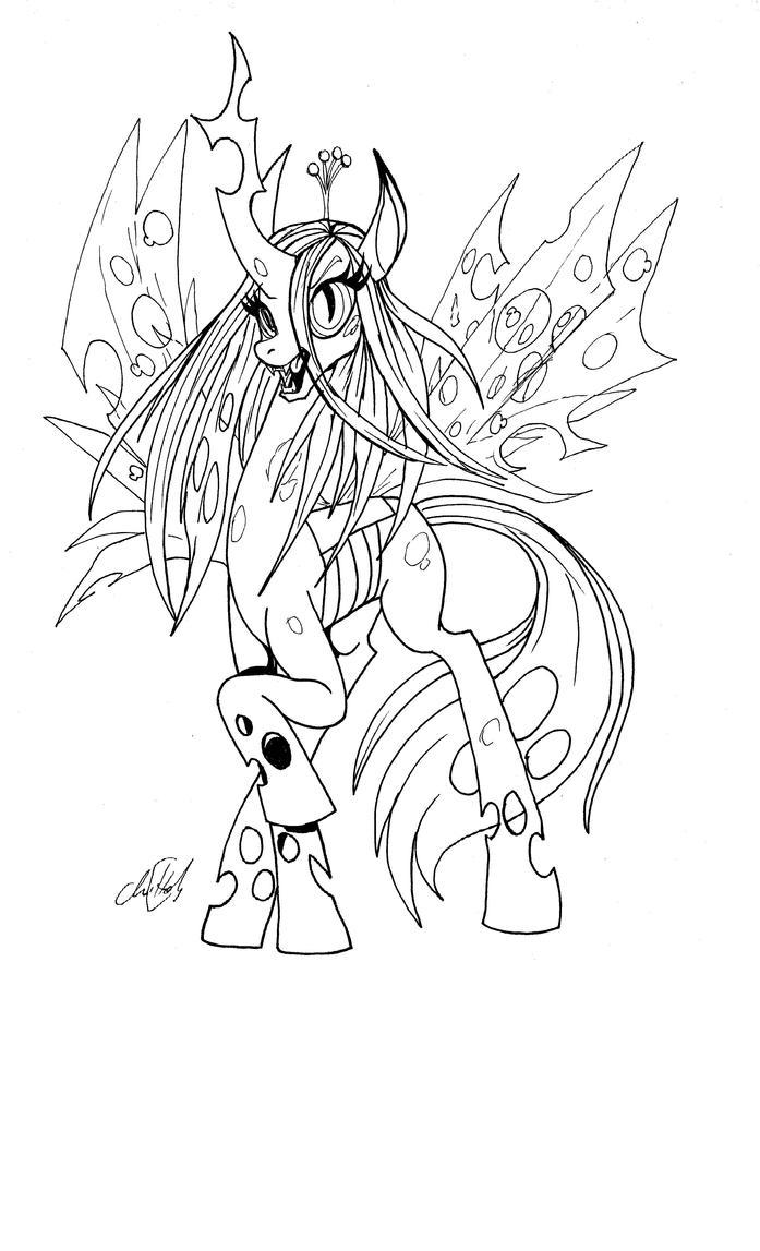 queen chrysalis coloring pages queen chrysalis bw by chrisholm on deviantart