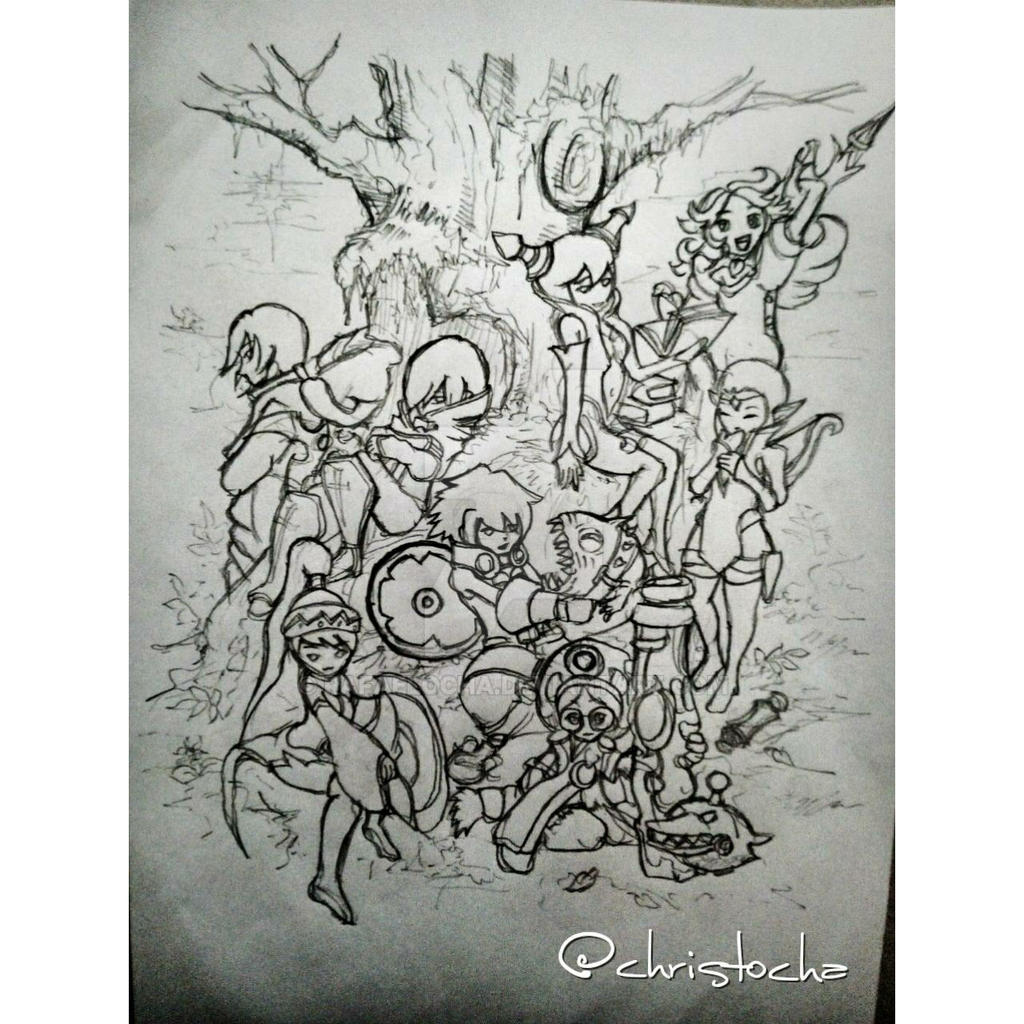 Dragon nest all job pencil sketch by rafaelocha
