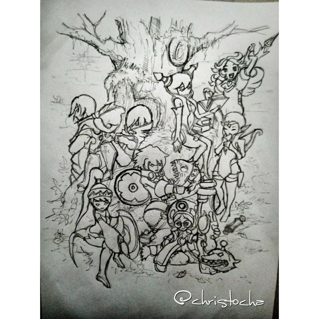 Dragon nest all job pencil sketch by rafaelocha