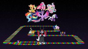 Ponies at SNES Rainbow Road
