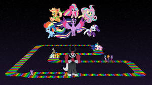 Ponies at SNES Rainbow Road by DashieMLPFiM