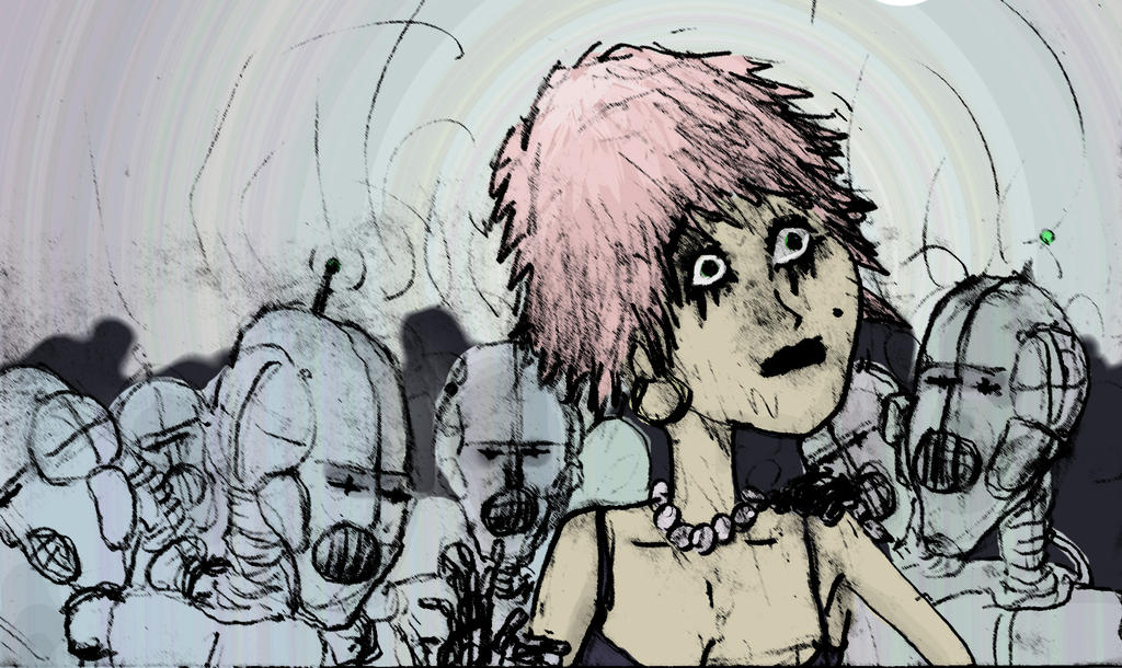 Girl with Robots Colored