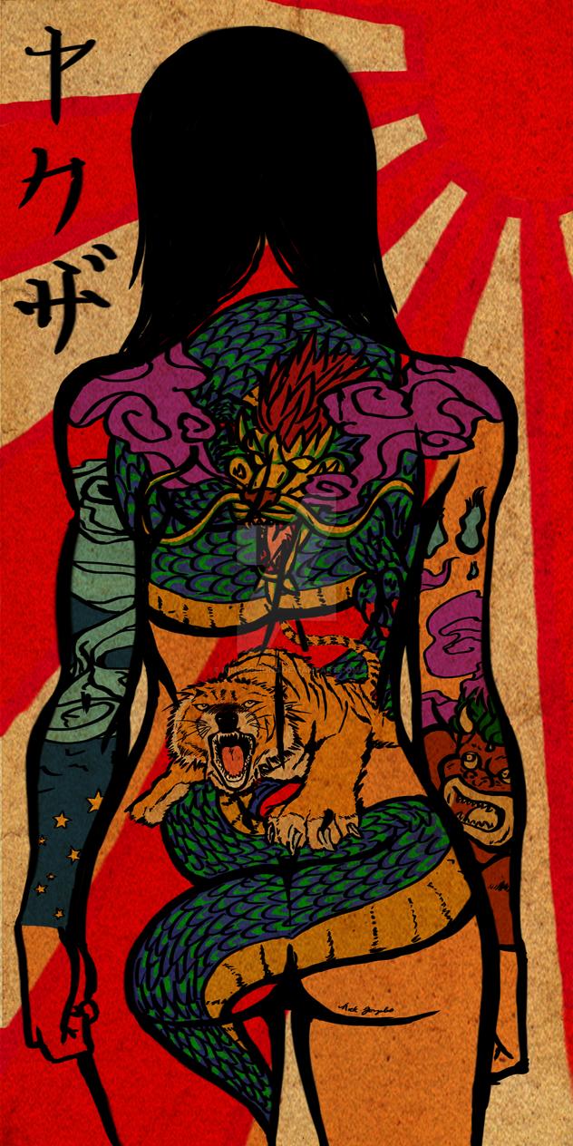 Yakuza girl scroll by kingoflions on deviantart for Female yakuza tattoo
