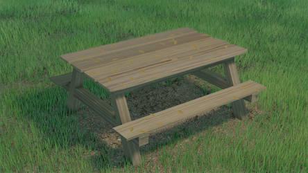 Mesa de madera en el parque
